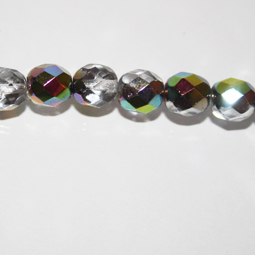 Fasetter i silver AB, 8 mm. Ca 12 cm sträng.