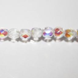 Fasetter i crystal AB, 5 mm. Ca 12 cm sträng.