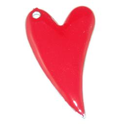 Rött emaljerat hjärta, 29*51 mm.