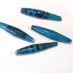 Avlång handgjord papperspärla från Afrika, 30 mm. 4-pack.