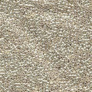 Delica 11/0, Galvaniserad Silver, DB0035. 5 gram.