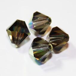 Preciosa bikoner i färgen Black Diamond, 8 mm. 4-pack.