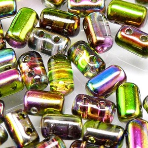 Rulla beads, tjeckisk cylinderformad två hålig pärla,  Crystal Magic Orchid. 10 gram