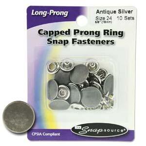Antik silverfärgad tryckknapp, storlek 24