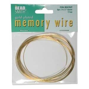 Guldpläterad oval memory wire för armband, ca 6*7,5 cm i  diameter, 12 varv.
