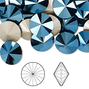 Swarowski Rivoli 14 mm, Crystal Metalic Blue F