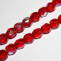 Röda AB fasetterade glaspärlor, 6 mm.
