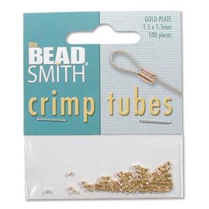 Tubformade klämpärlor, guldpläterade. 1,5 mm. 100-pack.