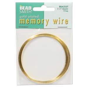 Guldpläterad memory wire för armband, ca 5,5 cm i  diameter, 12 varv.