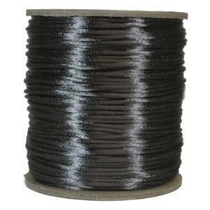 Mörkgrått satinband, 2 mm. En meter.
