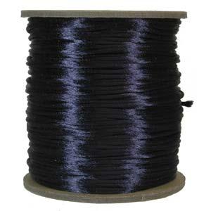 Mörkblått satinband, 2 mm. En meter.