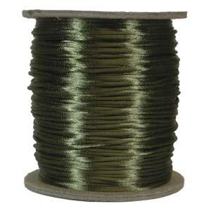 Olivgrönt satinband, 2 mm. En meter.