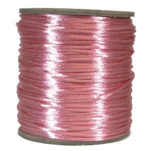 Rosa satinband, 2 mm. En meter.