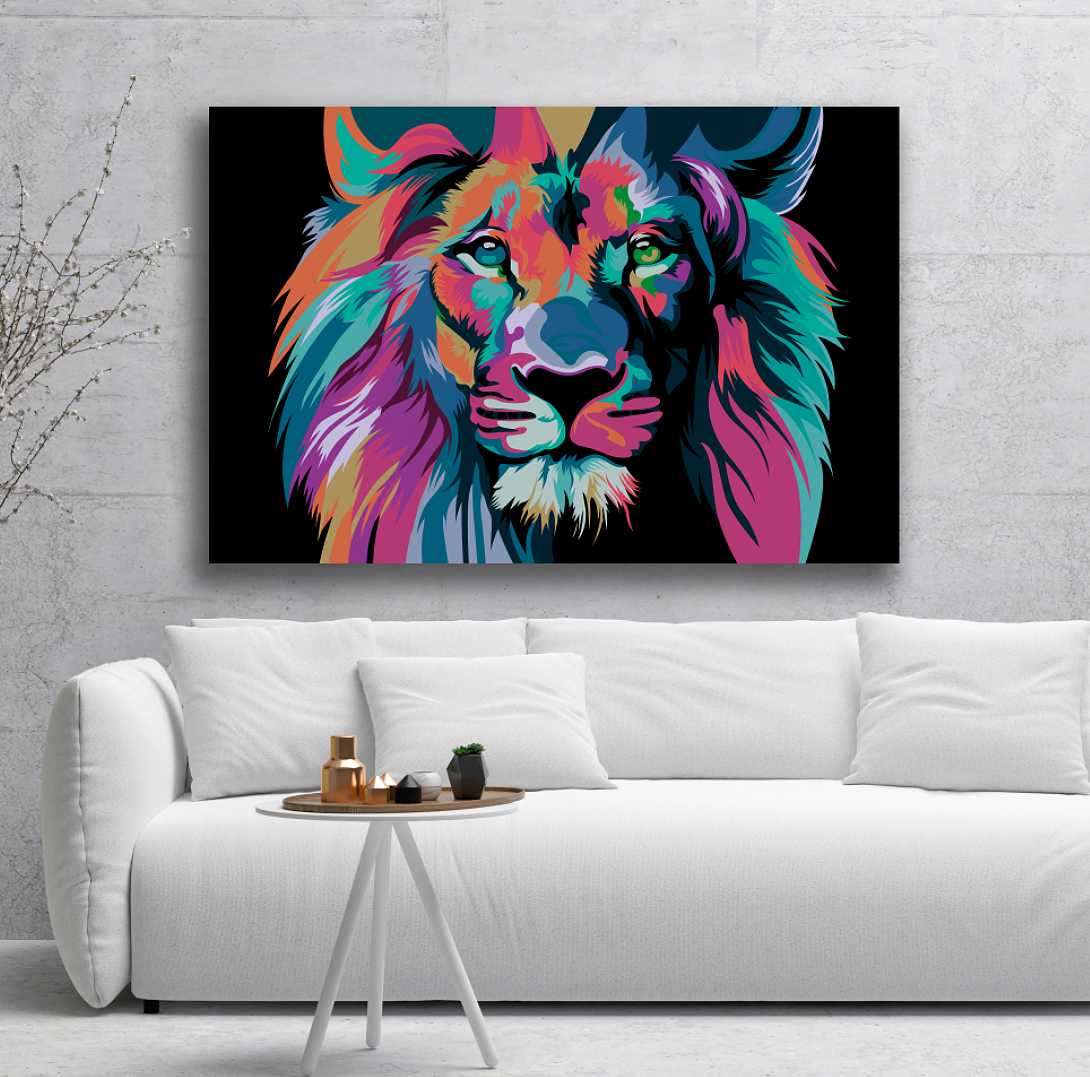 Sound absorbing wall art lion