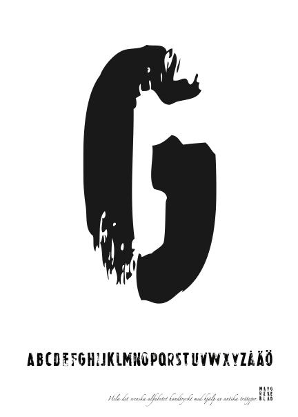 PRINT AV handtryckt bokstav svart på vitt - G