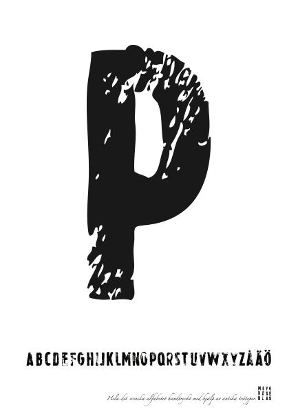 PRINT AV handtryckt bokstav svart på vitt - P
