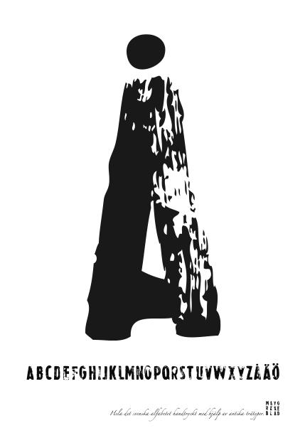 PRINT AV handtryckt bokstav svart på vitt - Å