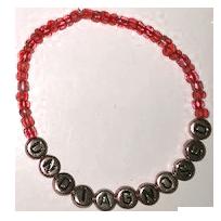 UNDIAGNOSED Armband rött med silver