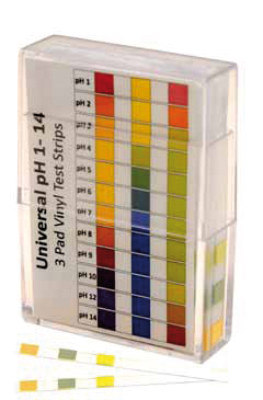 pH indicator strips with 3 pads, pH 0,0 - pH 14,0, Interval: 1 pH, 50 strips/pack