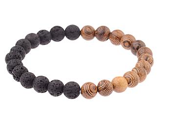 Lava Sten och Zebra Trä Armband med Elastisk band - 10mm Pärlor