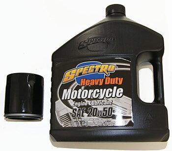 SERVICE PAKET MED SPECTRO HEAVY DUTY 20/50 MOTOROLJA, MED SVART FILTER. Passar Harley 1999-2018 Softail, Dyna, FLT/Touring. Svart filter.
