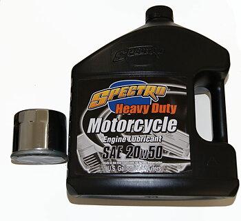 SERVICE PAKET MED SPECTRO HEAVY DUTY 20/50 MOTOROLJA, MED KROMAT FILTER. Passar: 1999-18 Softail, Dyna,FLT/Touring.