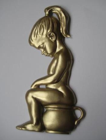 Toalett skylt retro skitunge guld shabby chic lantlig stil
