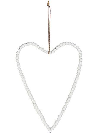 Stort hjärta vita pärlor trä shabby chic lantlig stil