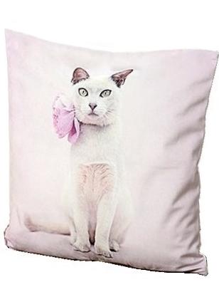 Kuddfodral katt rosa velvet kattkudde ljusrosa shabby chic lantlig stil