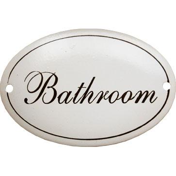 Skylt Bathroom vit oval emaljskylt i lantlig shabby chic stil