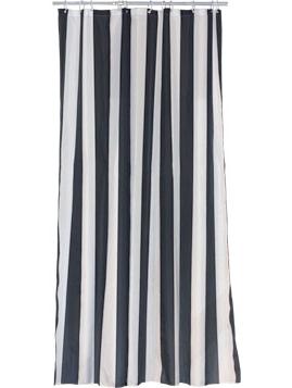 Duschdraperi svart vitt randigt polyester tyg