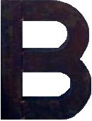 B bokstav blank svart plåt