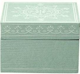Ask låda turkos i trä Bloomingville shabby chic lantlig stil