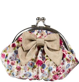 Portmonnä sammet börs med knäppe vintage ljus blommig rosett shabby chic lantlig stil