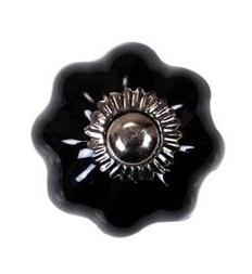 Porslinsknopp svart silver