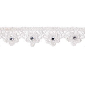 Spetsband spets creme kantspets uddspets med kristall shabby chic lantlig stil fransk lantstil