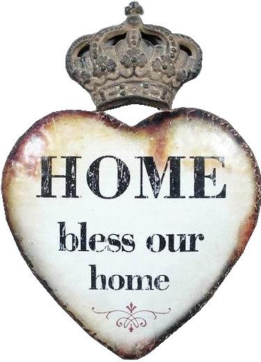 Stort hjärta skylt i plåt HOME Bless our home shabby chic lantlig stil