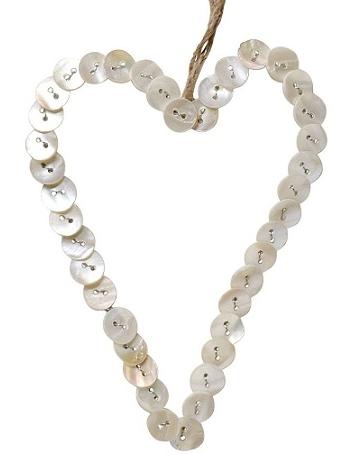 Hjärta av pärlemorknappar knappar shabby chic lantlig stil
