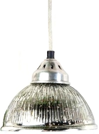 Lampa rillad fattigmanssilver tygsladd shabby chic lantlig stil