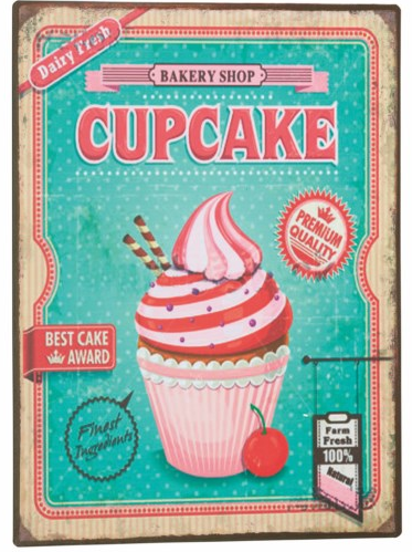Plåtskylt skylt Bakery shop Cupcake shabby chic lantlig stil shabby chic lantlig stil