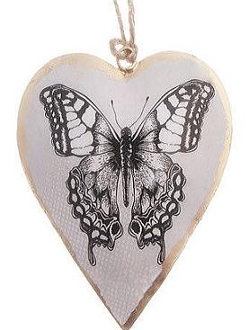 Hjärta i plåt Fjäril shabby chic lantlig stil fransk lantstil