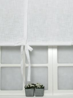 Hissgardin vit med knytband shabby chic lantlig stil