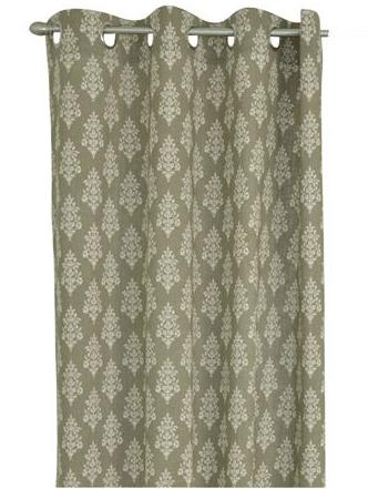 Öljettlängd linne-beige vit medaljong tryck blocktryck shabby chic lantlig stil