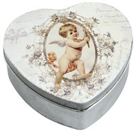 Plåtask hjärtformad ask hjärta med ängel liten