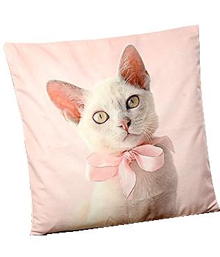 Kuddfodral katt rosa shabby chic lantlig stil