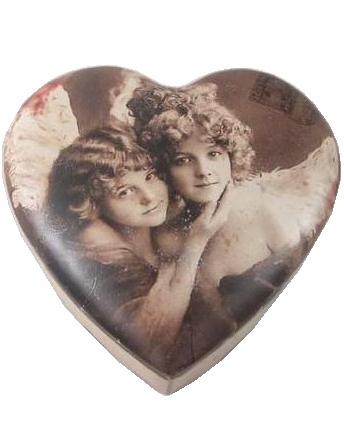 Plåtask hjärtformad hjärta änglar stor shabby chic lantlig stil