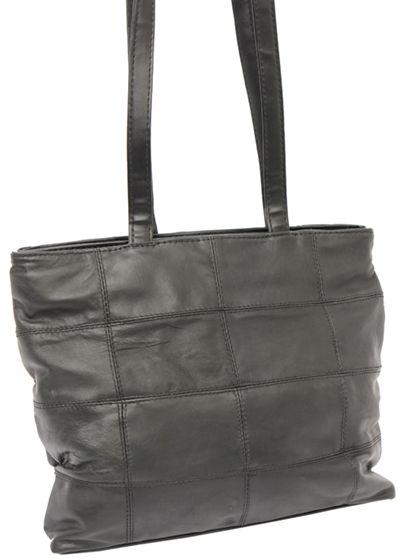 Svart shoppingväska väska läder skinn