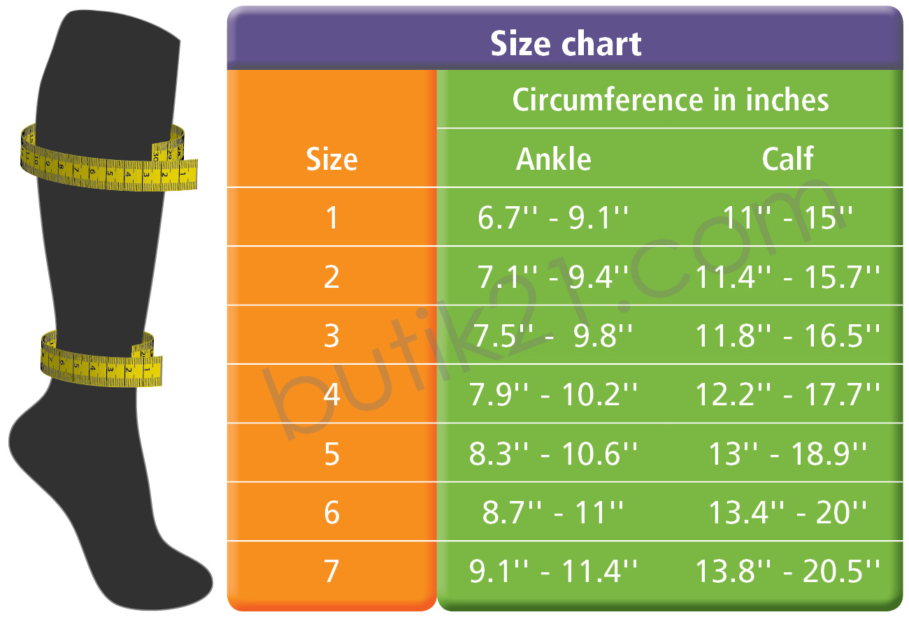 Size chart anti-thrombosis stockings