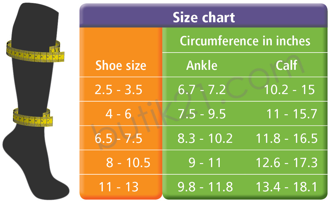 "Size chart compression socks ""design by"""