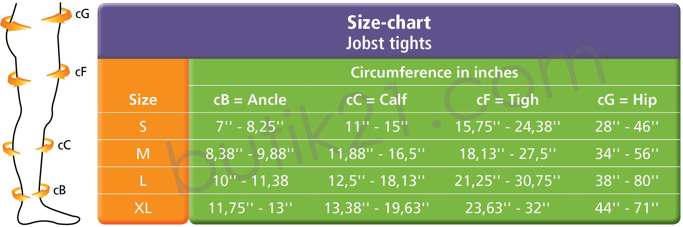 Size chart Jobst UltraSheer tights
